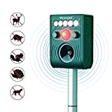 Wikoo Outdoor Ultrasonic Animal Repeller,Solar Powered Animal Repeller,Waterproof Expeller Scarer-Motion Sensor,Effective for Cat,Dog,Fox,Raccoons,Skunk,Rats and so on
