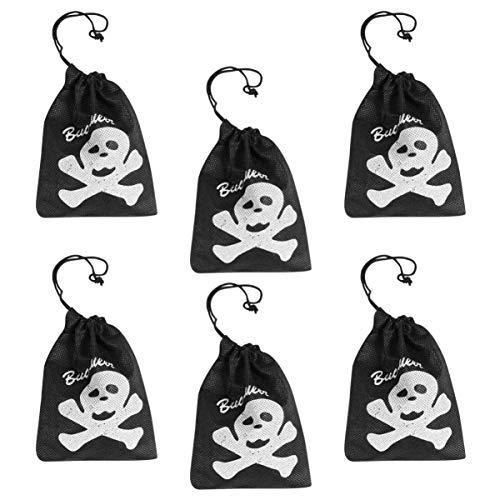 VALICLUD Piraten Kordelzug Tasche Schädel Design Geschenkbeutel für Geburtstagsfeier Halloween Dekoration 6Pcs