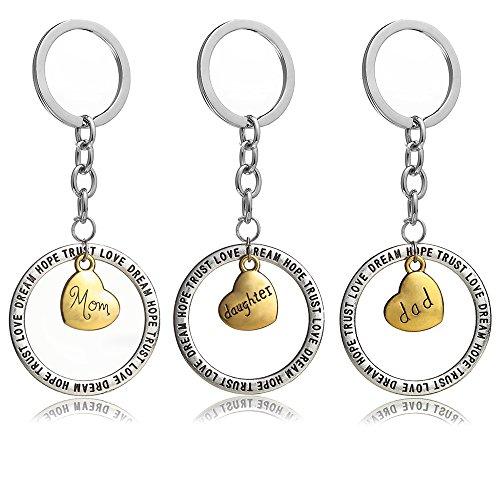 Schlüsselanhänger-Set, Mom, Dad, Daugther, englische Gravur:Trust Love Hope Dream, goldfarbenes Herz, rund, Geschenk für die ganze Familie