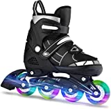 OUTCAMER Inline Skates with Light Up Wheels Adjustable Roller Skates Beginner Roller Fun