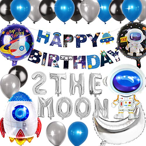Kreatwow 2nd Birthday Decorations for Boys 2 The Moon Party Outer Space Banner Astronaut Rocket Balloon