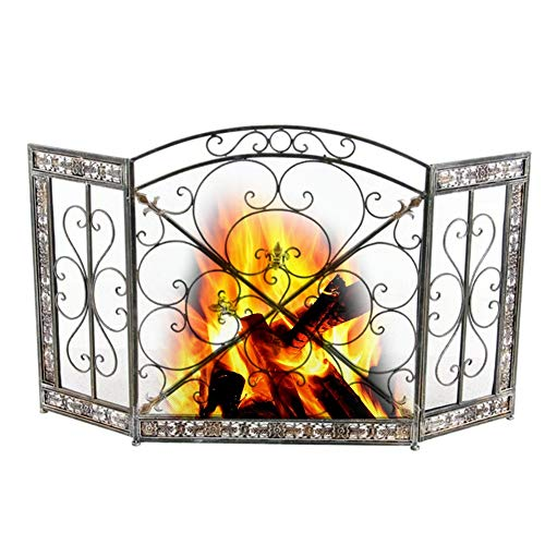 Fantastic Deal! ZAQI Heavy Duty 3 Panels Folding Large Brass Safety Fire Spark Guard Fireplace Cover...
