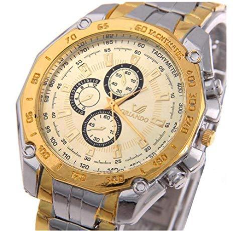 MJY Reloj de pulsera multifunción de Cwypb para mujer, elegante y redondo, reloj de acero inoxidable a prueba de agua para esposa, novia, regalo para hija, dorado