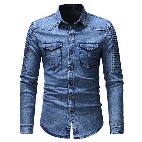 Camisa de Mezclilla Camisa de Jeans de algodón para Hombre Moda otoño Camisa de Mezclilla de Manga Larga Delgada Camisa de Mezclilla Delgada de Moda Lavada Camisa Casual