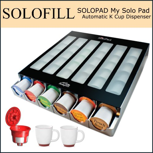 Solofill My Solo Pad Automatic K Cup Dispenser Bundle - Includes Solofill Cup, Refillable K-Cup and 2 Halo Bistro Wide Coffee Mugs
