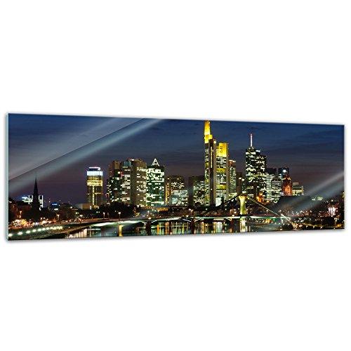 Glasbild - Frankfurt Skyline bei Nacht - Deutschland - 120x40 cm - Deko Glas - Wandbild aus Glas - Bild auf Glas - Moderne Glasbilder - Glasfoto - Echtglas - kein Acryl - Handmade