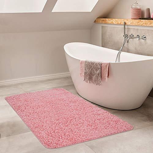 Paco Home Moderner Badezimmer Teppich Einfarbig Hochflor Badteppich rutschfest In Pink, Grösse:50x80 cm