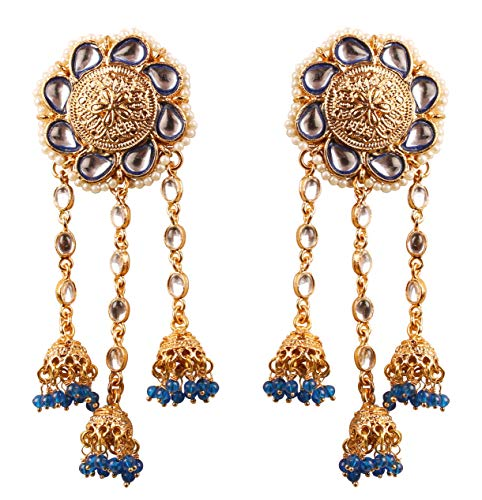 Touchstone Desiderio kundan look polki finto perle floreali blu perline pendenti orecchini lampadario antico per donna Blu