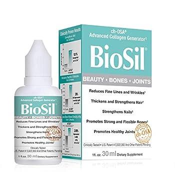 BioSil by Natural Factors Beauty Bones Joints Liquid Supports Healthy Hair Skin and Nails Vegan Collagen Elastin and Keratin Generator 1 fl oz  120 servings