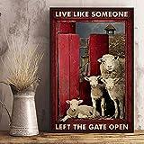 BCTS Cartel de metal con texto en inglés 'Sheep Live Like Someone Left The Gate Open Farm Life Día de la Madre'