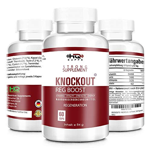 KNOCKOUT - REGENERATION EXTREM - beliebt im Bodybuilding, Fitness und MMA - Regeneration, Muskulatur - mehr Motivation und Focus - 60 Kapseln hergestellt in Deutschland
