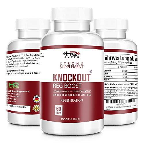 KNOCKOUT - REGENERATION EXTREM - beliebt im Bodybuilding, Fitness und MMA - schnellere Regeneration der Muskulatur - mehr Motivation und Focus - 60 Kapseln hergestellt in Deutschland