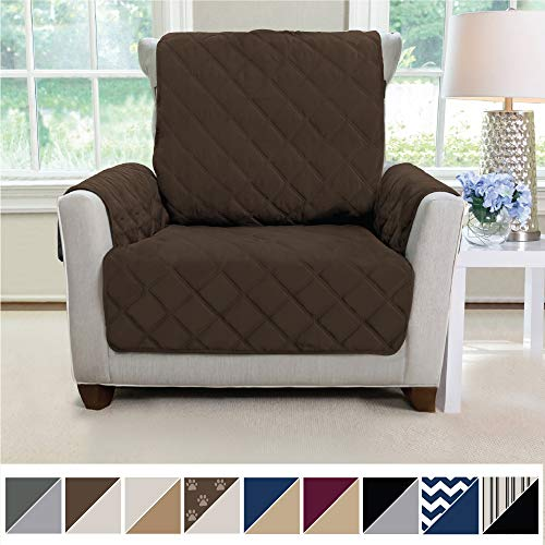 MIGHTY MONKEY Premium Reversible Chair Protector for Seat Width up to 23 Inch, Furniture Slipcover, 2 Inch Strap, Chairs Slip Cover Throw for Pets, Dogs, Cats, Armchair, Chocolate Taupe