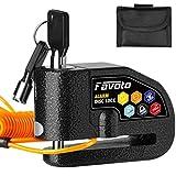 Favoto ディスクロック 110 dBアラーム 7mmロックピン リマインダーケーブルとキャリングバッグ付き ロック 黒色