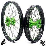 KKE 21/19 Dirt Bike Mx Wheels Rim Fit for KAWASAKI KX250F KX450F 2006-2020 KX125/250 2006-2007 GREEN Nipple