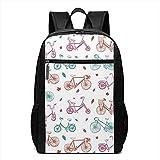 WlyFK Backpack Karikatur-Fahrrad-Muster-Einzigartige Unisexschultertaschen, Erwachsener Student Double Zipper Closure Casual School Bag