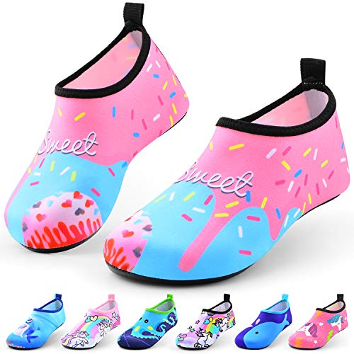 Sunnywoo Water Shoes for Kids Girls Boys,Toddler Kids Swim Water Shoes Quick Dry Non-Slip Water Skin Barefoot Sports Shoes AquaSocks for Beach Outdoor Sports,7-8.5 Toddler,Pink Shell