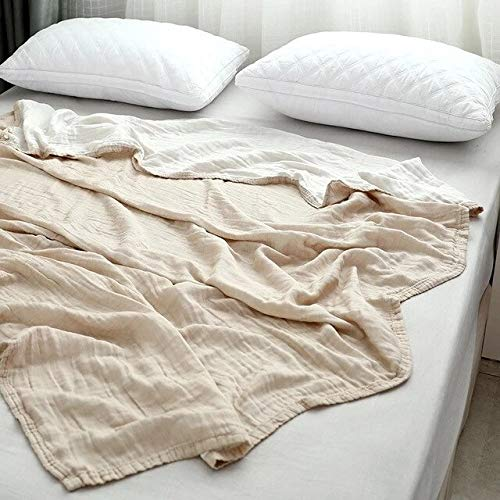 150x200cm Khaki 3layer Cotton Gauze Towel Cotton Muslin Summer Blanket For Bed Soft Throw Plain For Adults & Kids On Bed Sofa Bedspread