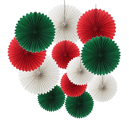 Ipalmay 12PCS Assorted Colors Hanging Tissue Paper Fans for Christmas Decorations(14, 10, Christmas Green, Red, White)