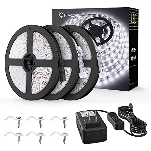 Onforu 50ft Waterproof LED Strip Lights, 6000K Cool White Tape Light, 15M 12V Flexible Ribbon Lights, 2835 LEDs Rope Light for Garden, Patio, Balcony, Party, Wedding, Indoor and Outdoor Decor