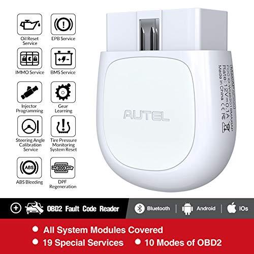 Autel AP200 Outil Diagnostic Auto OBD2 Bluetooth pour Tous Les Systèmes avec Codage d'Injecteur, AutoVIN, Service IMMO, RAZ de l'Entretien/EPB/BMS/SAS/TPMS/FAP Adapté pour Bricoleurs