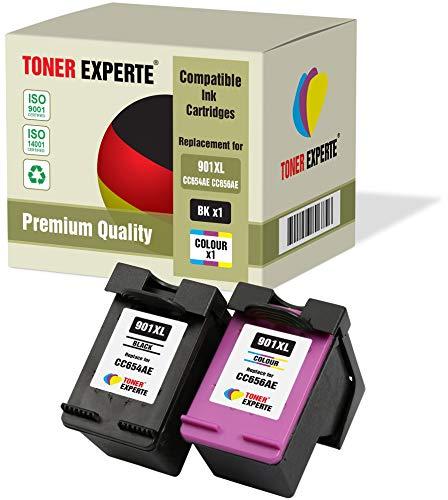 2 XL TONER EXPERTE® Druckerpatronen kompatibel für HP 901XL OfficeJet 4500, J4500, J4524, J4535, J4540, J4550, J4580, J4624, J4660, J4680, J4680c, G510a, G510g, G510n (Schwarz, Farbe)