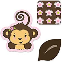 Big Dot of Happiness Pink Monkey Girl - DIY Shaped Baby Shower or Birthday Party Cut-Outs - 24 Count