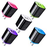 Wall Charger Adapter, Charger Brick, AndHot 5 Pack 2.1A Dual Port USB Cube Block Wall Charger Plug Compatible for iPhone 11 Pro Max XR XS X 8 7 6 Plus, iPad, Samsung, LG, Moto, Android Phone, Kindle