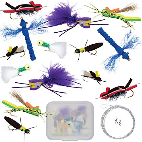 Thor Outdoor Topwater Fly Fishing Kit for Bass & Panfish | 14 pc Assortment + Tapered Leader | Hook Size 10-12 | Foam Poppers, Hoppers, Dry Flies, Spiders, Ants, Attractors