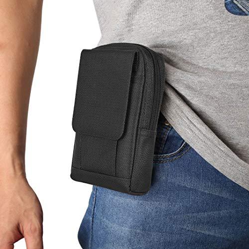 MeganStore Sac pour téléphone Portable, Pochette Ceinture Homme, Convient au téléphone Portable iPhone 5/6/7, Double Fermeture à glissière Sacoche Ceinture