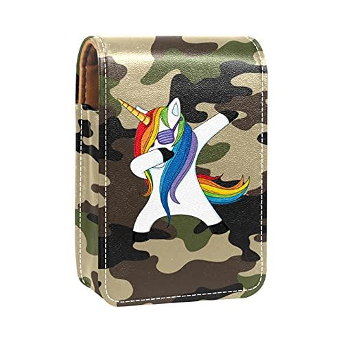 qfkj Mini Cuero Bolsa organizadora de lápiz Labial,Unicornio de Fondo de Camuflaje