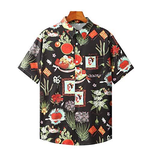 Camisas de Manga Corta para Hombre Tendencias de Primavera y otoño Camisas de Solapa Estampadas con Personalidad Suelta Populares Camisas de Manga Corta Casuales XXL