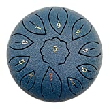 Napacoh Tambor De Lengua De Acero, Instrumento De Percusión De Tecla C De 6 Pulgadas Y 11 Tonos para Acampar/Yoga/Meditación, Tambor De Tanque, Tambor Etéreo Azul Cian