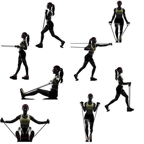 BlueBeach® Widerstand Typ der Fitness-Band D – Gym Yoga Muskeln Training Übung elastische Ausrüstung Training Tube Seil Kabel Stretch Mode Werkzeugkörper (zufällige Farbe) - 5