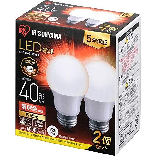 アイリスオーヤマ LED電球 口金直径26mm 広配光 40W形相当 電球色 2個パック 密閉器具対応 LDA4L-G-4T62P