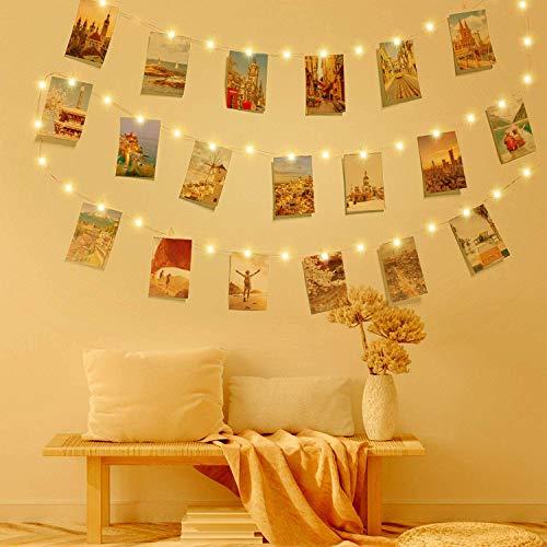 Clip Cadena de Luces LED, LECLSTAR LED Fotoclips Guirnalda de Luces,ideal para Hogar, Pared, Navidad, Fiesta, Boda,Decoraciones de Dormitorio(50 Clips) 🔥