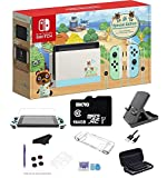Newest Nintendo Switch Animal Crossing: New Horizons Edition 32 GB Console, Green and Blue Joy-Con, Multi-Touch Screen, WiFi, HDMI, 64GB SD Card, and GalliumPi Ultimate 18-in-1 Bundle