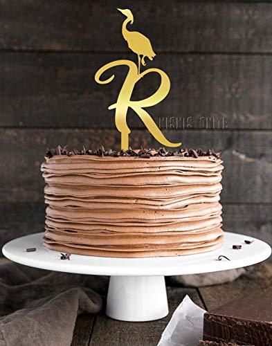 KISKISTONITE Rustic Wedding Cake Topper, Initial Cake Topper, Monogram Cake Topper R with Flamingo,Gold Acrylic Cake Decoration Favors Cake Decorating Party Supplies