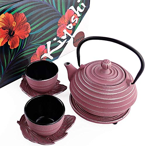 KIYOSHI Luxury 7PC Japanese Tea Set.'Pink Circles' Cast Iron Tea Pot with 2 Tea Cups, 2 Saucers, Loose Leaf Tea Infuser and Teapot Trivet. Ceremonial Matcha Accessories