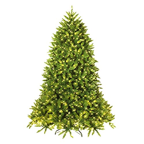 Goplus 5ft Prelit Christmas Tree, Premium Hinged Artificial Fir Tree, with LED Lights and Metal Stand, Easy Assemble, Xmas Decor for Indoor and Outdoor