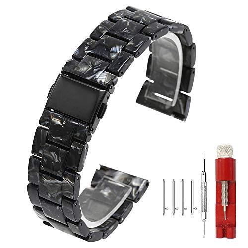 Horlogebandje van hars, 20 mm, 22 mm, voor mannen en vrouwen, roestvrijstalen sluiting, licht, alle schakels afneembaar, zwart/barnsteen/blauw/regenboog, agaat zwart, 22mm, armband
