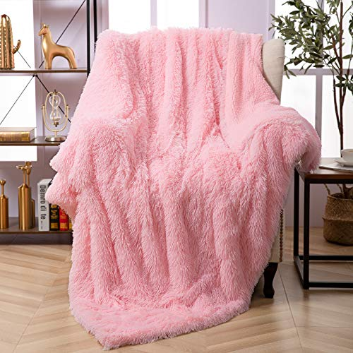 """Faux Fur Throw Blanket, Super Soft Lightweight Shaggy Fuzzy Blanket Warm Cozy Plush Fluffy Decorative Blanket for Couch,Bed, Chair(50""""x60"""", Pink)"""