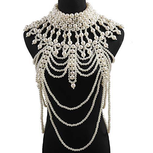 ZJFFMY Perlenkette Körperkette Europa und Amerika übertrieben Perle Weste Perlenkette Modetrend Schmuck Langen Anzug