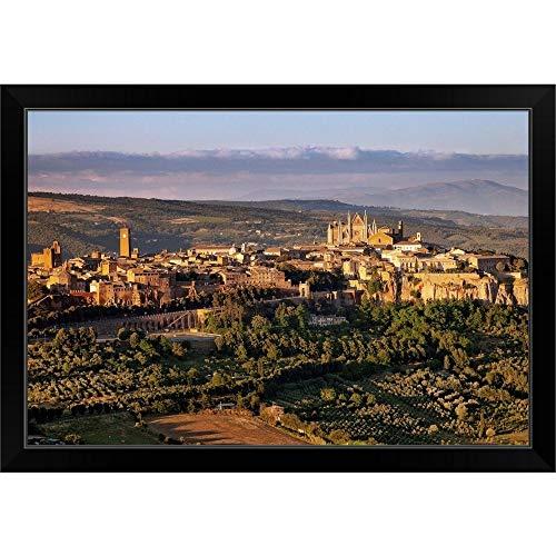 "CANVAS ON DEMAND Italy, Umbria, Mediterranean Area, Terni District, Orvieto Black Framed Art Print, 33""x23""x1"""
