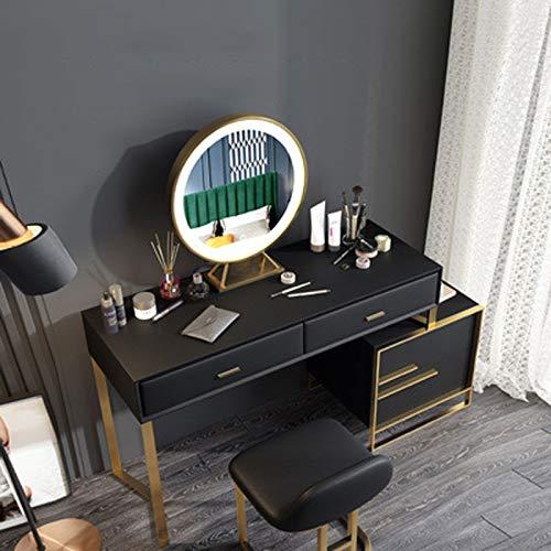 GUOGUODA 1m Schminktisch gesetzt mit Led Spiegelleuchte Spiegel Frisiertisch Kosmetiktisch Frisiertisch Kommode Frisierkommode Schminkkommode mit Beleuchtung und Hocker Schminktische mit schubladen
