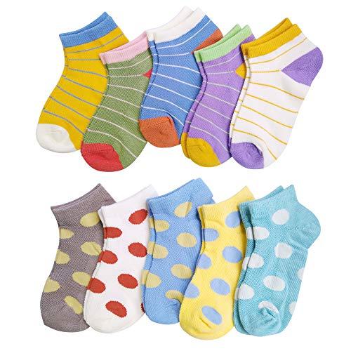 VWU Kids Ankle Socks Thin Cotton Socks Cute Pattern Breathable Mesh 1-9 Years Girls Boys (Set B 10pcs, 7-9 Years Old)