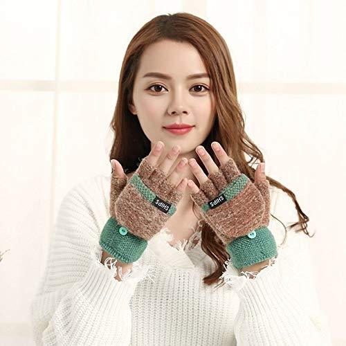 HVTKL Ms. herfst en winter dikke warme wol gebreide Koreaanse studenten clamshell toetsenbord touch screen handschoenen