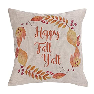 Wonder4 Maple Leave Throw Pillow Covers Happy Fall y'all Watercolor Wreath Happy Thanksgiving New Home Room Sofa Car Decorative Cotton Linen Throw Pillow Case Cushion Cover Square 18 X 18 Inches
