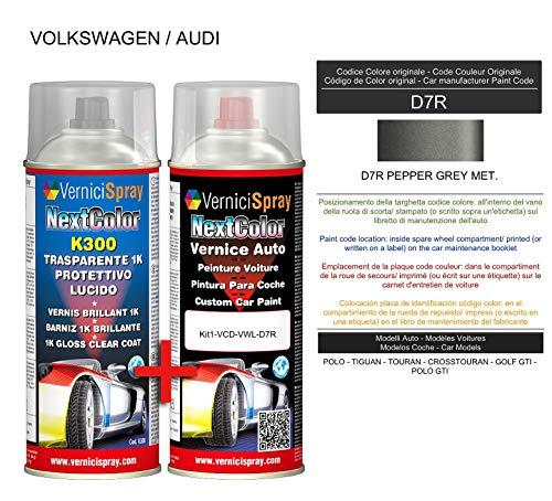 Kit de pintura para coche en spray D7R Pepper Grey Met. Kit de retoque de pintura metalizada y transparente, 400 + 400 ml de pintura en aerosol.