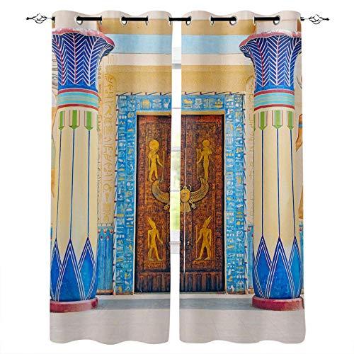 YUESUO Mörkläggningsgardiner för sovrum vardagsrum öljett fönsterbehandlingar arkitektur europeisk romersk kolonn retro supermjuk termisk isolerad barn barnkammare ring topp gardiner heminredning 2 paneler
